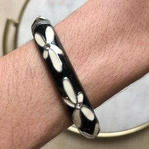 Vintage Diamond Flower Bangle Bracelet
